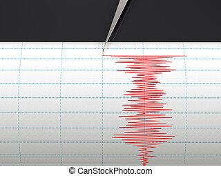grabación, sismógrafo, movimiento, Instrumento, Durante,...