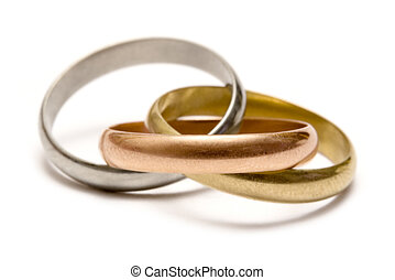 Olympic Rings - Gold, silver and bronze ring isolated on a...
