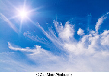 white fluffy clouds over blue sky - white fluffy clouds in...