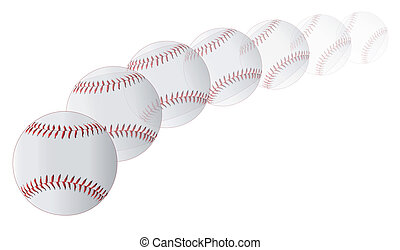 Flying Baseball - A new white pitched baseball with red...