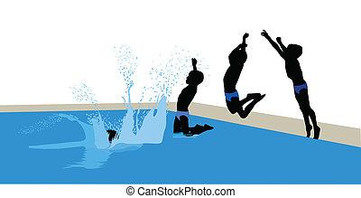 springen, Teich