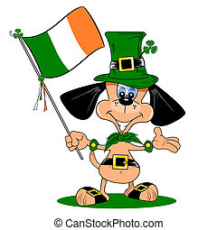 Cartoon Dog from Ireland - A cartoon dog celebrating St...