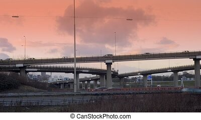 Motorway Flyover - Cars passing at various levels over a...
