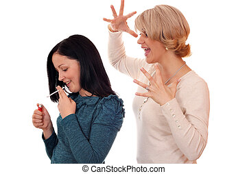 angry mother finds out that her daughter smokes