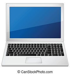 grey laptop - Laptop on a white background Vector...