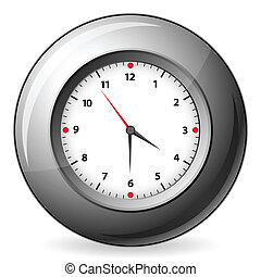 Grey wall clock - Clock isolated on white background. Vector...