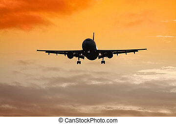 air plane sunset - A photography of a jet air plane in the...