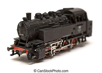 Steam Engine Model - Black steam engine model isolated on a...