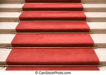 Red Carpet - Red carpet on marble stairway welcoming VIPs