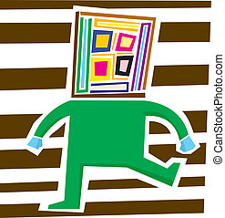Abstract Person Stomping - Abstract person with square head...