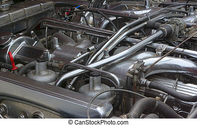 Classic car engine - Engine compartment of an old classic...