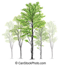 Tree Vector - Hand Drawn - The abstract of Tree Vector -...
