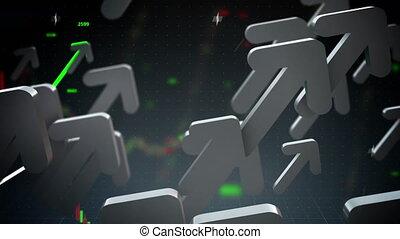 Business arrows up loop - Business arrows flying up loop
