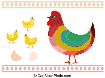 Hen and chicken.