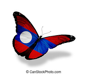 Laotian flag butterfly flying, isolated on white background