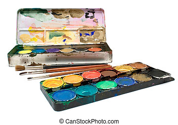 Watercolors Set - Box of watercolors and several brushes...