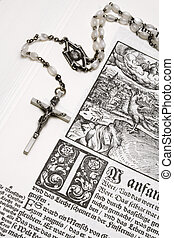 Rosary and Bible - Crucifix on an old bible.