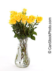 Yellow Roses - A dozen yellow friendship roses in a vase...