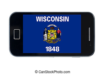 smartphone flag of american state of wisconsin - smartphone...