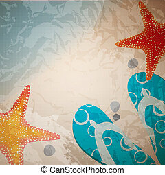 sandals and starfish at beach nature summer vector...