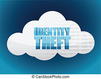 identity theft Cloud glossy icon illustration design over a...