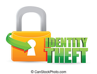 secured identity theft Gold lock illustration design over a...