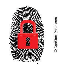 dedo, impresión, cerrado, rojo, u-lock