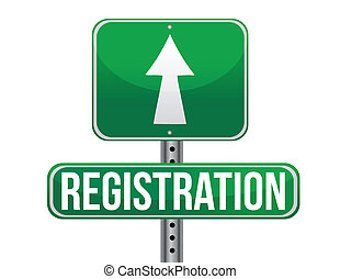 registration green traffic road sign illustration design...