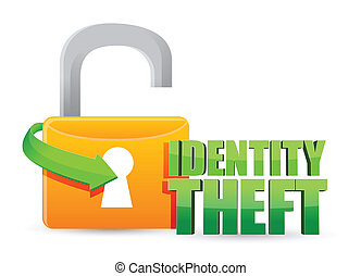 unsecured identity theft Gold lock illustration design over...