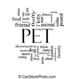 Pet Word Cloud Concept in black and white with great terms...