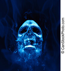 scull blue fire - An illustration of a scull in blue flames