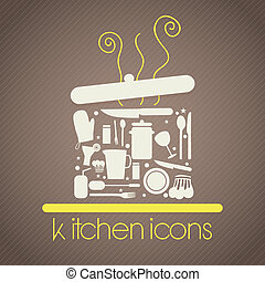Kitchen Icons - Pot formed by other kitchen items. On brown...