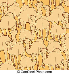 camel herd pattern - Seamless repeat pattern of a herd of...
