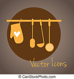 Kitchen Icons tools, retro colors Vector illustration
