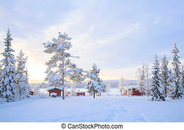 Winter landscape Sweden lapland - Winter landscape with...
