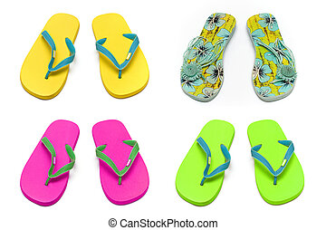 sandals slippers on the white background Collage - sandals...