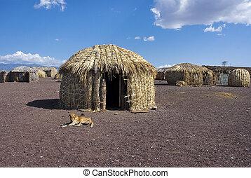 Traditional african huts, Lake Turkana, Kenya