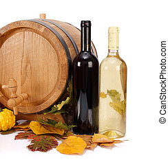 Autumn wine - Composition of wooden barrel, glass wine...