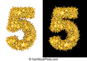Gold shiny stars number 5, black and white background