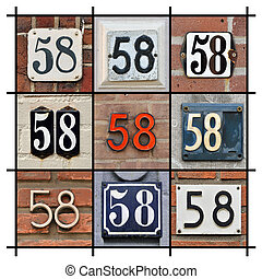 Numbers Fifty-eight - Collage of House Numbers Fifty-eight