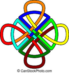 Celtic knot - Multi-colored Celtic knot in the form of a...