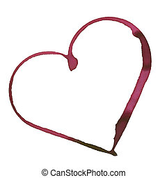 Romantic wine stain - heart shape made with stain from wine...