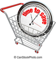 Time to Save Clock in Shopping Cart - A white clock in a...