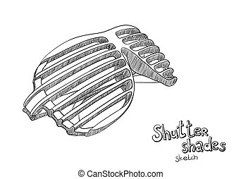 Shutter shades - Sketch stylized Shutter shades on white