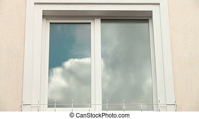 Window Frame With Blue Sky - Home Exterior With Cloud...
