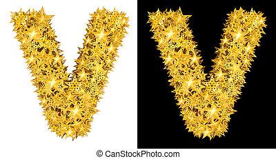 Gold shiny stars letter V, black and white background