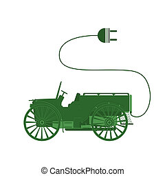 Electric car - Ecocar symbol classic, isolated objects on...