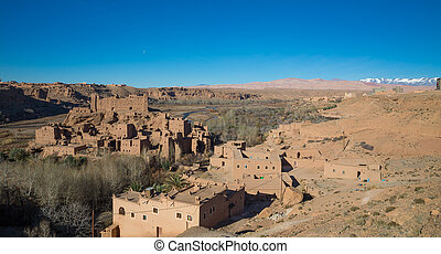 Morocco Kasbah - view of Morocco Kasbah over blue sky and...