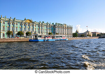 View of Winter Palace from Neva river. St.Petersburg, Russia...