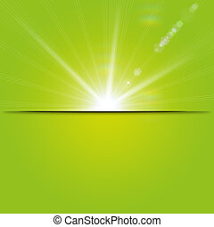Spring Background - Green sunny spring background with place...